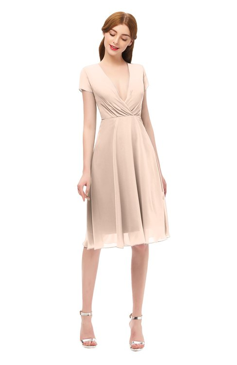 ColsBM Bailey Fresh Salmon Bridesmaid Dresses V-neck Ruching A-line Zipper Knee Length Modern