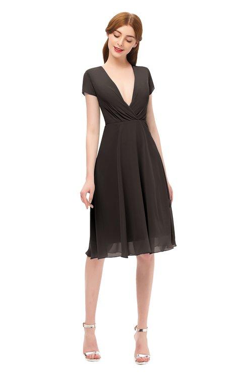 ColsBM Bailey Fudge Brown Bridesmaid Dresses V-neck Ruching A-line Zipper Knee Length Modern