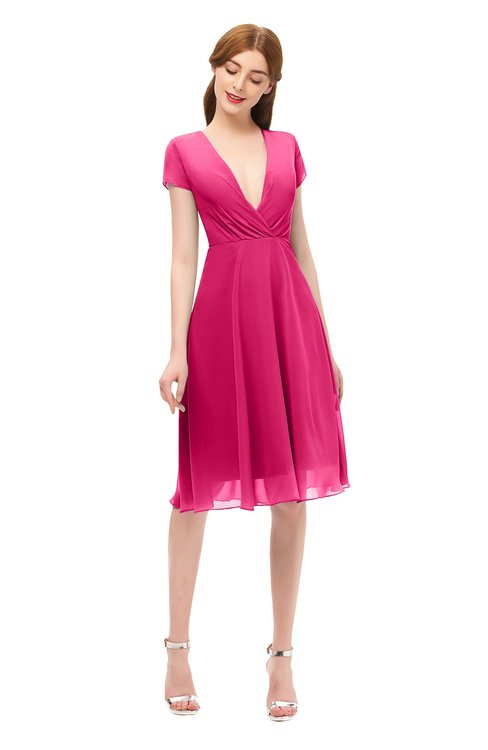 ColsBM Bailey Fuschia Bridesmaid Dresses V-neck Ruching A-line Zipper Knee Length Modern