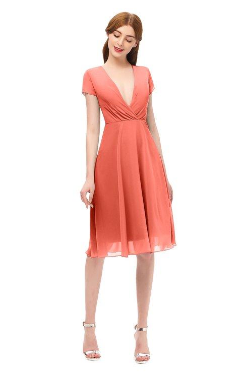 ColsBM Bailey Fusion Coral Bridesmaid Dresses V-neck Ruching A-line Zipper Knee Length Modern