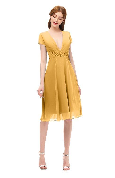 ColsBM Bailey Golden Cream Bridesmaid Dresses V-neck Ruching A-line Zipper Knee Length Modern