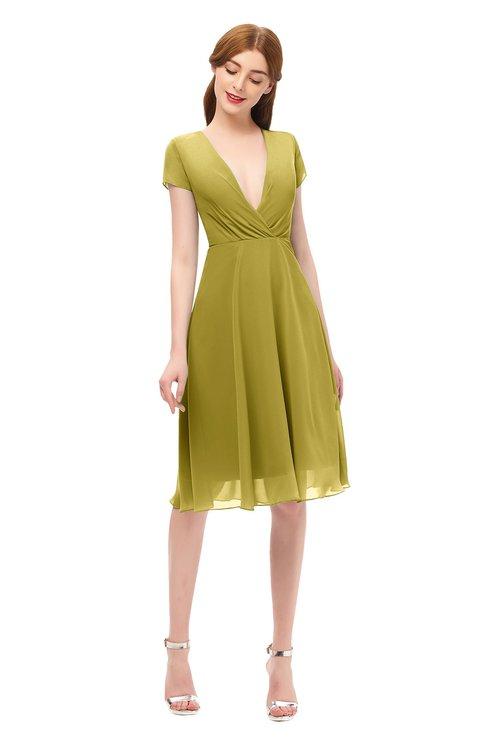 ColsBM Bailey Golden Olive Bridesmaid Dresses V-neck Ruching A-line Zipper Knee Length Modern