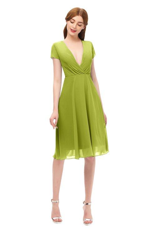 ColsBM Bailey Green Oasis Bridesmaid Dresses V-neck Ruching A-line Zipper Knee Length Modern