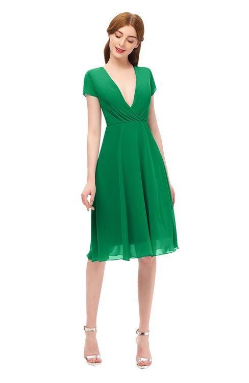 ColsBM Bailey Green Bridesmaid Dresses V-neck Ruching A-line Zipper Knee Length Modern
