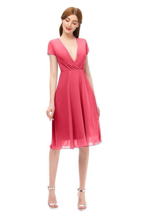 ColsBM Bailey Guava Bridesmaid Dresses V-neck Ruching A-line Zipper Knee Length Modern