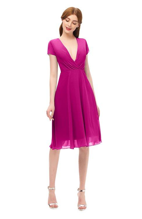 ColsBM Bailey Hot Pink Bridesmaid Dresses V-neck Ruching A-line Zipper Knee Length Modern
