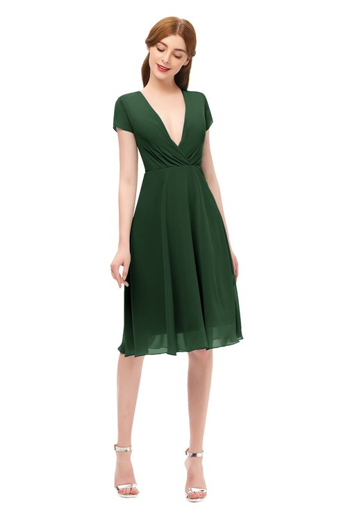 ColsBM Bailey Hunter Green Bridesmaid Dresses V-neck Ruching A-line Zipper Knee Length Modern