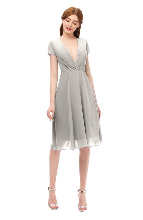 ColsBM Bailey Hushed Violet Bridesmaid Dresses V-neck Ruching A-line Zipper Knee Length Modern