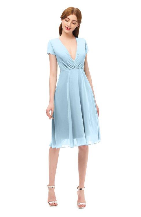ColsBM Bailey Ice Blue Bridesmaid Dresses V-neck Ruching A-line Zipper Knee Length Modern