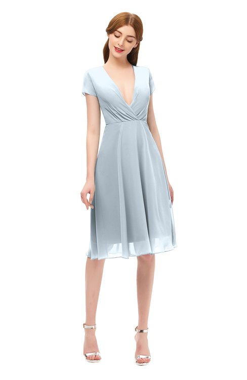 ColsBM Bailey Illusion Blue Bridesmaid Dresses V-neck Ruching A-line Zipper Knee Length Modern