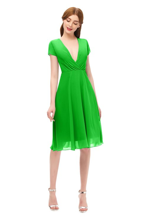 ColsBM Bailey Jasmine Green Bridesmaid Dresses V-neck Ruching A-line Zipper Knee Length Modern