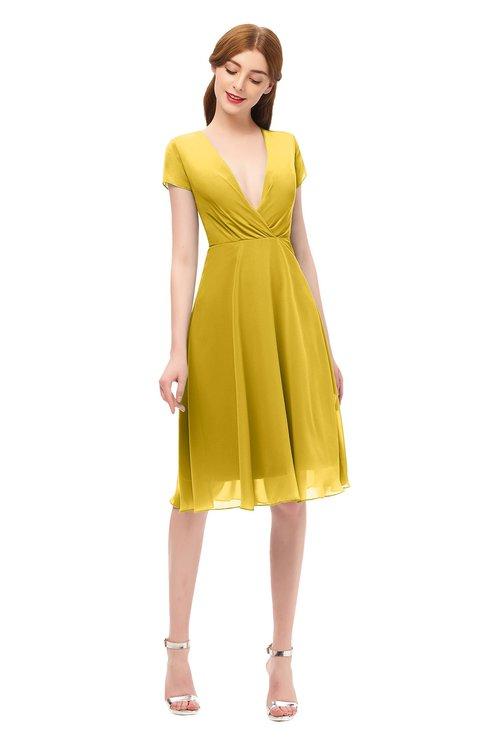 ColsBM Bailey Lemon Curry Bridesmaid Dresses V-neck Ruching A-line Zipper Knee Length Modern