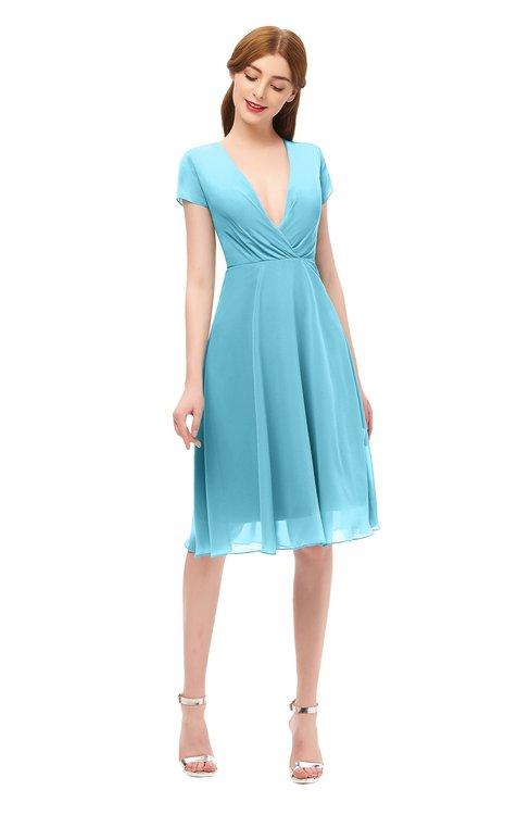 ColsBM Bailey Light Blue Bridesmaid Dresses V-neck Ruching A-line Zipper Knee Length Modern