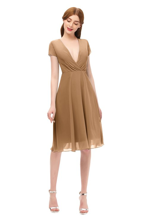 ColsBM Bailey Light Brown Bridesmaid Dresses V-neck Ruching A-line Zipper Knee Length Modern