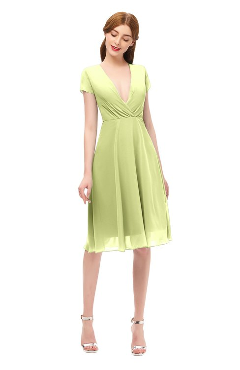 ColsBM Bailey Lime Green Bridesmaid Dresses V-neck Ruching A-line Zipper Knee Length Modern