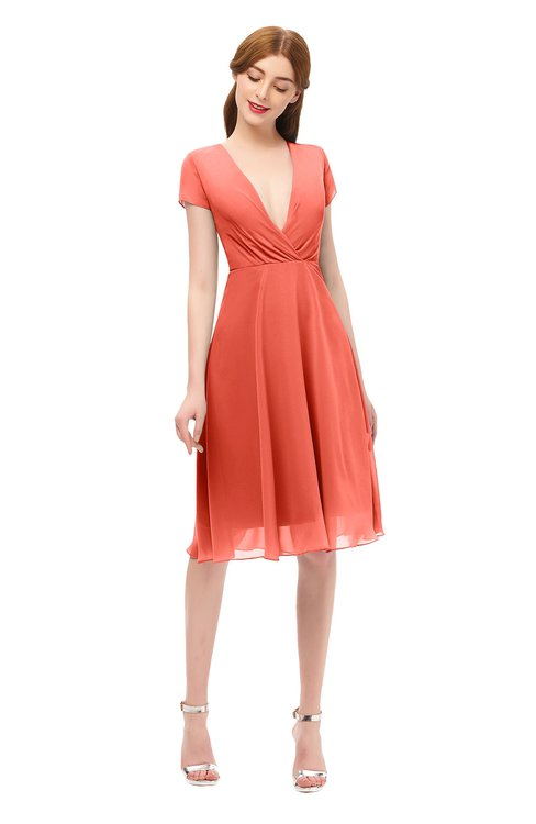 ColsBM Bailey Living Coral Bridesmaid Dresses V-neck Ruching A-line Zipper Knee Length Modern
