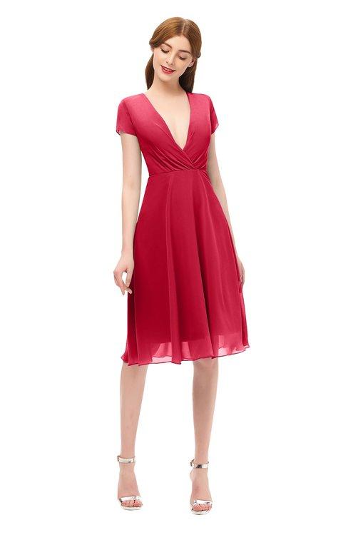 ColsBM Bailey Lollipop Bridesmaid Dresses V-neck Ruching A-line Zipper Knee Length Modern