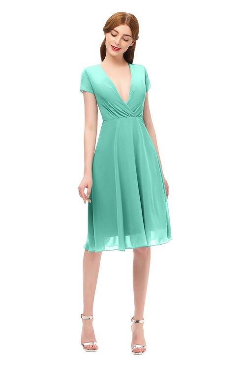 ColsBM Bailey Mint Green Bridesmaid Dresses V-neck Ruching A-line Zipper Knee Length Modern