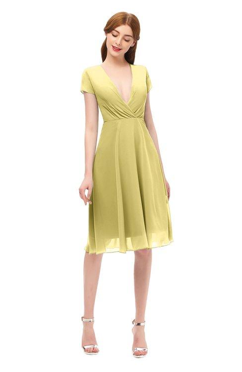ColsBM Bailey Misted Yellow Bridesmaid Dresses V-neck Ruching A-line Zipper Knee Length Modern