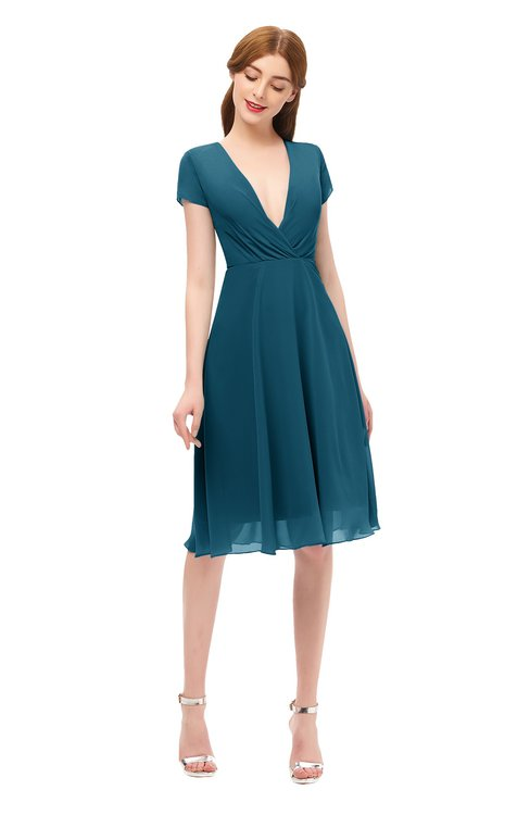 ColsBM Bailey Moroccan Blue Bridesmaid Dresses V-neck Ruching A-line Zipper Knee Length Modern