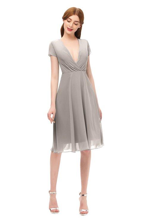ColsBM Bailey Mushroom Bridesmaid Dresses V-neck Ruching A-line Zipper Knee Length Modern