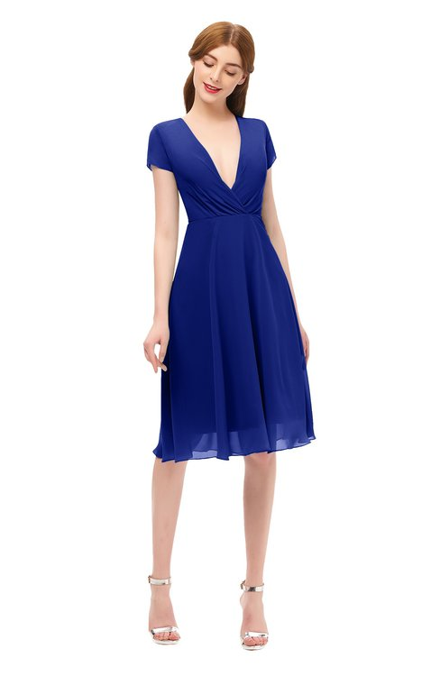 ColsBM Bailey Nautical Blue Bridesmaid Dresses V-neck Ruching A-line Zipper Knee Length Modern