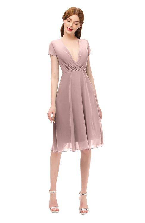 ColsBM Bailey Nectar Pink Bridesmaid Dresses V-neck Ruching A-line Zipper Knee Length Modern