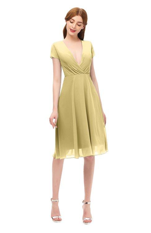 ColsBM Bailey New Wheat Bridesmaid Dresses V-neck Ruching A-line Zipper Knee Length Modern