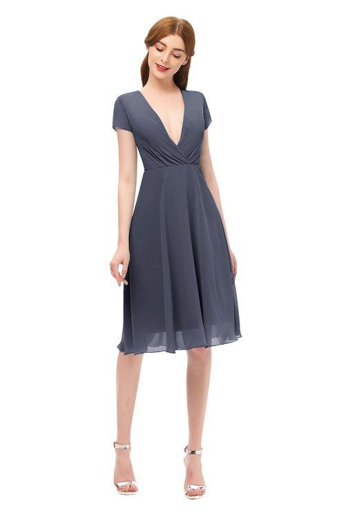 ColsBM Bailey Nightshadow Blue Bridesmaid Dresses V-neck Ruching A-line Zipper Knee Length Modern