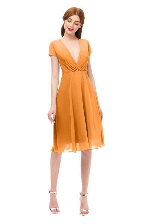 ColsBM Bailey Orange Bridesmaid Dresses V-neck Ruching A-line Zipper Knee Length Modern