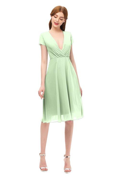 ColsBM Bailey Pale Green Bridesmaid Dresses V-neck Ruching A-line Zipper Knee Length Modern