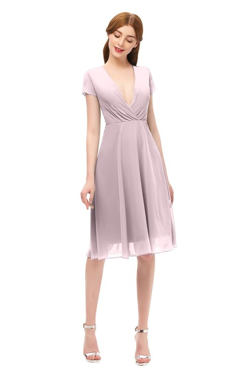 ColsBM Bailey Pale Lilac Bridesmaid Dresses V-neck Ruching A-line Zipper Knee Length Modern