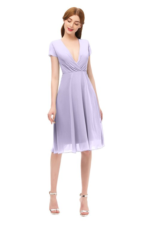 ColsBM Bailey Pastel Lilac Bridesmaid Dresses V-neck Ruching A-line Zipper Knee Length Modern