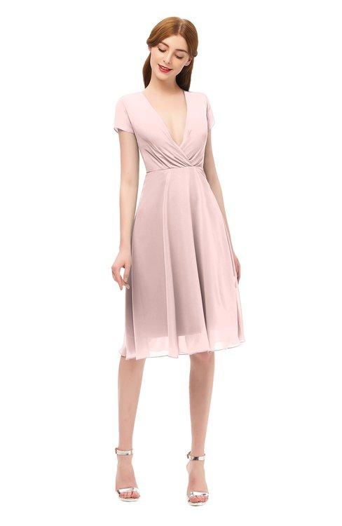 ColsBM Bailey Pastel Pink Bridesmaid Dresses V-neck Ruching A-line Zipper Knee Length Modern