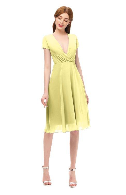 ColsBM Bailey Pastel Yellow Bridesmaid Dresses V-neck Ruching A-line Zipper Knee Length Modern