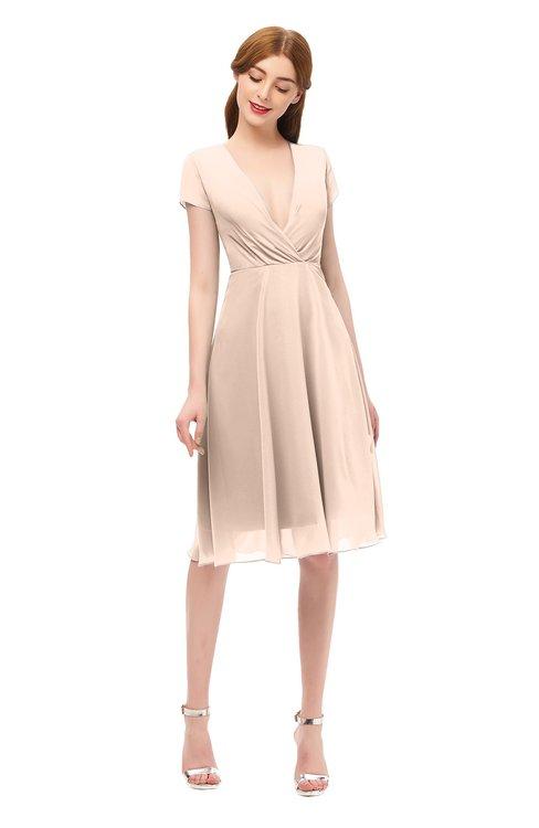 ColsBM Bailey Peach Puree Bridesmaid Dresses V-neck Ruching A-line Zipper Knee Length Modern