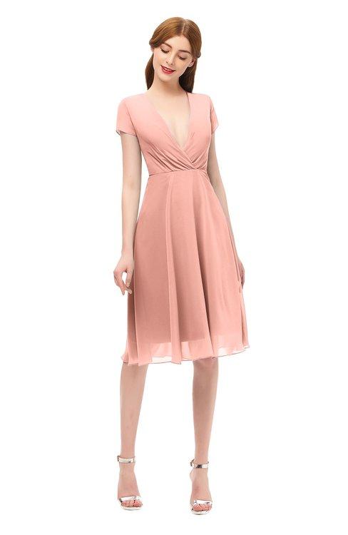 ColsBM Bailey Peach Bridesmaid Dresses V-neck Ruching A-line Zipper Knee Length Modern