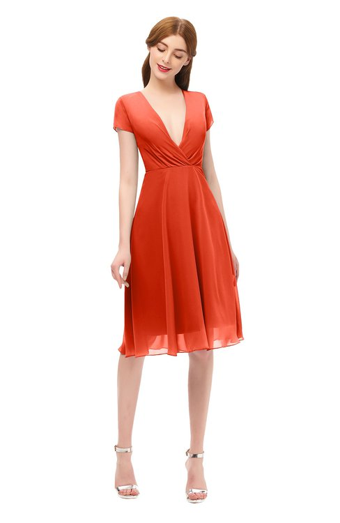 ColsBM Bailey Persimmon Bridesmaid Dresses V-neck Ruching A-line Zipper Knee Length Modern