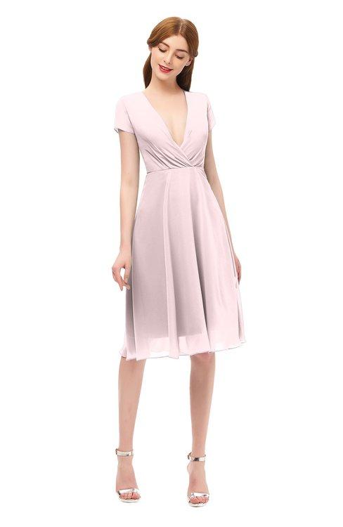ColsBM Bailey Petal Pink Bridesmaid Dresses V-neck Ruching A-line Zipper Knee Length Modern