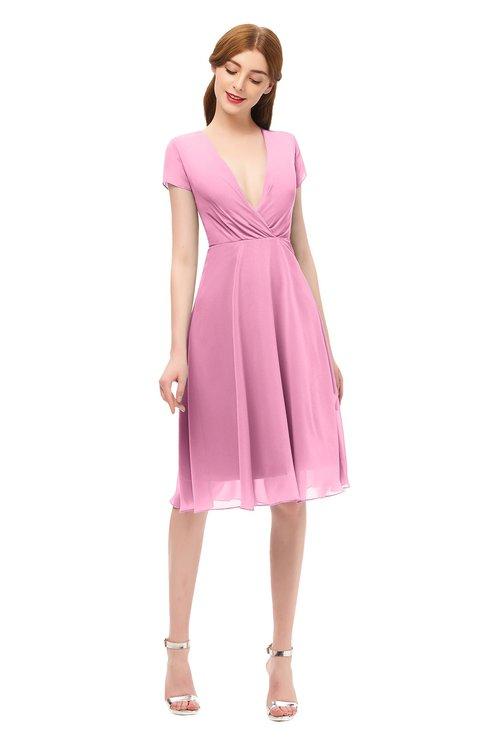 ColsBM Bailey Pink Bridesmaid Dresses V-neck Ruching A-line Zipper Knee Length Modern