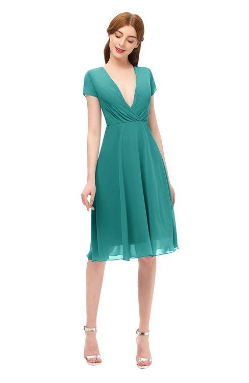 ColsBM Bailey Porcelain Bridesmaid Dresses V-neck Ruching A-line Zipper Knee Length Modern