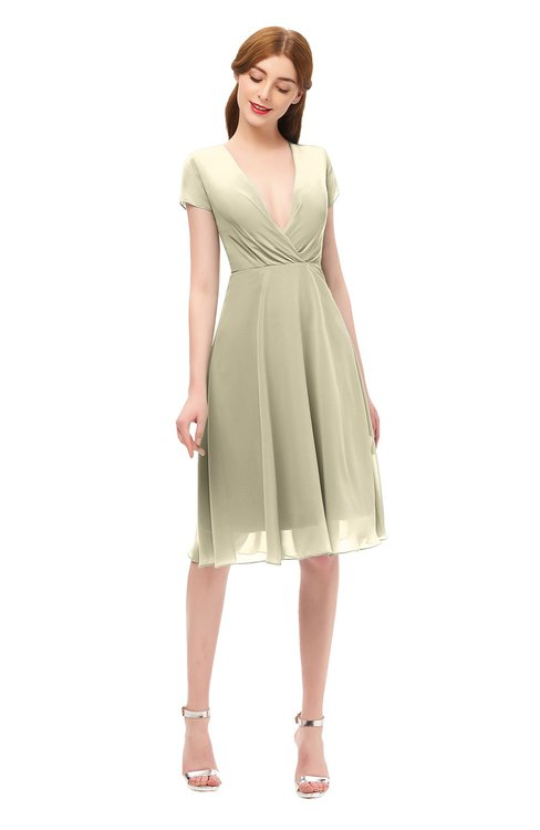 ColsBM Bailey Putty Bridesmaid Dresses V-neck Ruching A-line Zipper Knee Length Modern