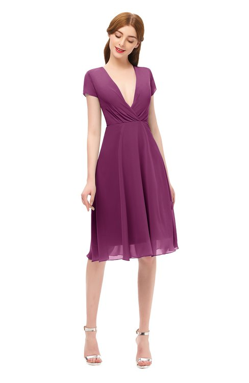 ColsBM Bailey Raspberry Bridesmaid Dresses V-neck Ruching A-line Zipper Knee Length Modern