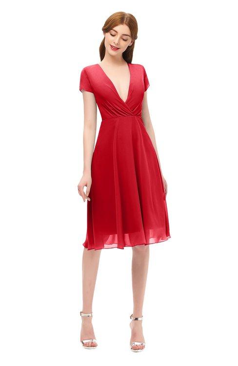 ColsBM Bailey Red Bridesmaid Dresses V-neck Ruching A-line Zipper Knee Length Modern