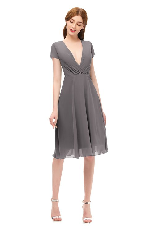 ColsBM Bailey Ridge Grey Bridesmaid Dresses V-neck Ruching A-line Zipper Knee Length Modern