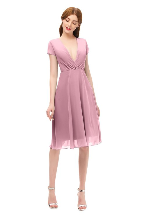 ColsBM Bailey Rosebloom Bridesmaid Dresses V-neck Ruching A-line Zipper Knee Length Modern