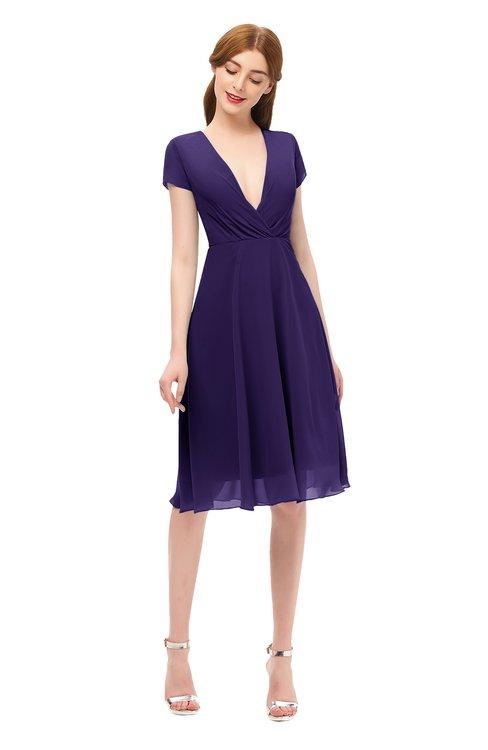 ColsBM Bailey Royal Purple Bridesmaid Dresses V-neck Ruching A-line Zipper Knee Length Modern