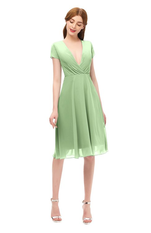 ColsBM Bailey Sage Green Bridesmaid Dresses V-neck Ruching A-line Zipper Knee Length Modern