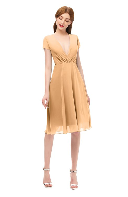 ColsBM Bailey Salmon Buff Bridesmaid Dresses V-neck Ruching A-line Zipper Knee Length Modern