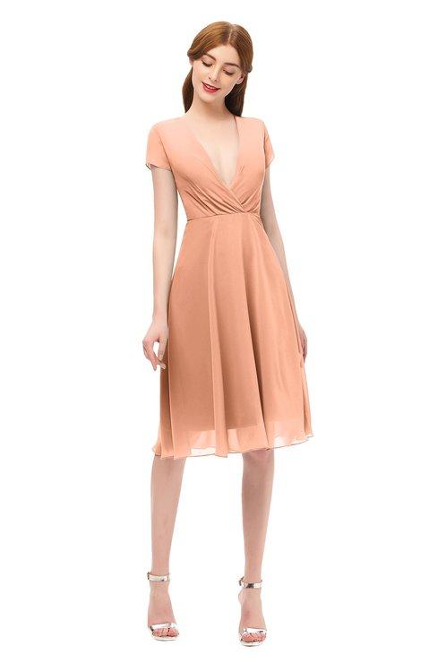 ColsBM Bailey Salmon Bridesmaid Dresses V-neck Ruching A-line Zipper Knee Length Modern